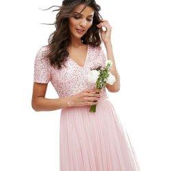 Maya luxusní společenské šaty s flitrovým topem a tylovou sukní růžová a5bbf5669a