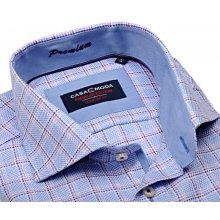 Casa Moda Comfort Fit Premium – luxusní světle modrá košile s vetkanou  fialovo-růžovou kostkou 59fb4f5fda