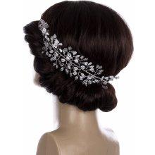 Svatební ozdoba do vlasů - čelenka Stříbrná větvička velká s perly a  krystalky CV0096-12 a957eee55f
