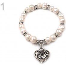 Náramek pružný z perel 1 bílá perleť