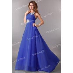 Grace Karin plesové šaty s vlečkou CL2949-5 modrá alternativy ... bbcdbeda71