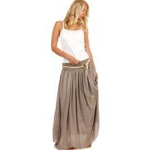 Glara dlouhá jednobarevná maxi sukně hnědá 226167 28b7127363