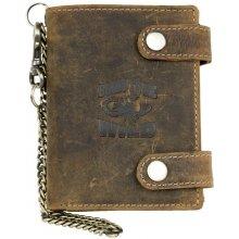 Kožená peněženka se škorpionem se dvěma upínkami a 35 cm dlouhým kovovým řetězem a karabinkou