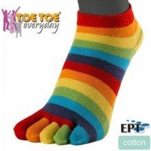 ToeToe TRAINER prstové kotníkové ponožky rainbow duha 3 pack