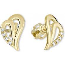 Brilio zlaté náušnice srdce s krystaly 239 001 00738