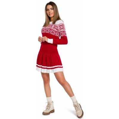 Vánoční pletené šaty MOE MXS01 červené EU velikost: Univerzální