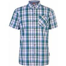 29e049546da9d Lee Cooper Short Sleeve Check shirt Mens Whte/Green/Blue