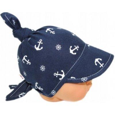 Baby Nellys Dětský bavlněný šátek s kšiltem na zavazování kotvička granát