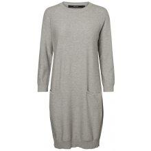 4462059f5a684 Vero Moda dámské šaty Galtine 7/8 O-neck Dress melange light grey