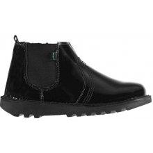 Kickers Child Girls Chelsea Boots Black Patent