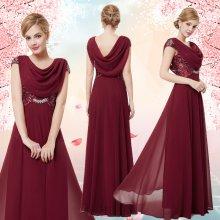 Dlouhé společenské šaty s rukávkem na ples vínová 03f986d853