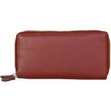 Dvojzipová tmavě kvalitní kožená peněženka HMT červená