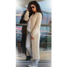 Fashionweek Luxusní neobvyklé pletené dlouhé svetry kabáty MAXI SV06 Béžový 3b532696a1