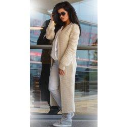 Fashionweek Luxusní neobvyklé pletené dlouhé svetry kabáty MAXI SV06 Béžový a52d82af49