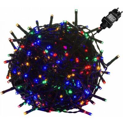 Goleto Vánoční LED osvětlení 10 m barevné 100 LED zelený kabel