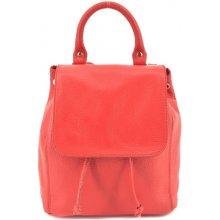 49169af78dd Arteddy dámský dívčí malý kožený batoh a kabelka v jednom s klopnou červená