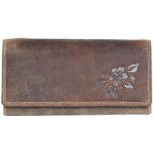 Kožená peněženka z pevné přírodní kůže v praktickém stylu kasírky s raženým  květem dc5bd8b5cf