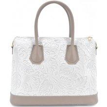 9aba0d1650f7 Arteddy dámská kožená kabelka s květovaným vzorem tmavě béžová světle šedá