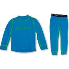 Sensor Komplet dětské triko s dlouhým rukávem + spodky DOUBLE FACE modrá zelená šití