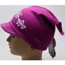 RDX dívčí šátek s kšiltem 2868 Květy starorůžová 062f81fe44