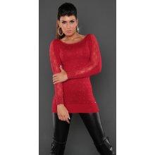 e1aabecc15b1 Koucla Dámský dlouhý svetr s krajkou a nýtky červená