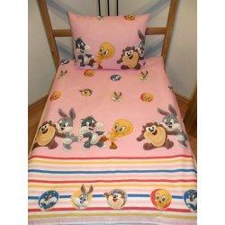 Dětské povlečení SDS Povlečení do postýlky Looney Tunes růžová bavlna 90 x 130 cm 60 x 45 cm