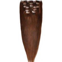 VLASY k prodloužení metodou CLIP IN,7pásů, středně hnědá 04-100%lidské vlasy,70g,40cm