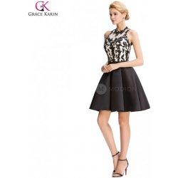 Grace Karin Taftové koktejlové šaty s krajkovým korzetem CL000054 Černá b2012d674c