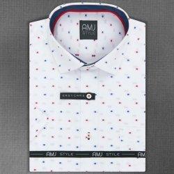 fb0793faa15 AMJ pánská košile bílá s červeno-modrými VKSZ986