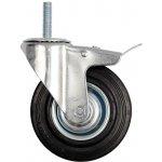 Otočné kolečko s brzdou, gumové se šroubem 100kg 125/33/153mm