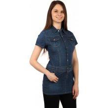 d395c37faa YooY dámské riflové šaty s krátkým rukávem 132343 modrá