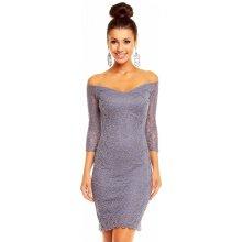 5ddfb1a3531 MAYAADI dámské společenské šaty krajkové s 3 4 rukávem krátké šedá