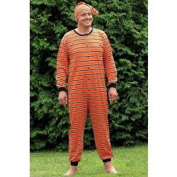 Pánský overal na spaní s čepičkou dlouhý Darka P61 oranžové pruhy pánské  pyžamo 9f4682c598