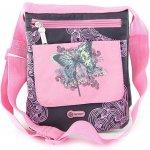 Target kabelka přes rameno Generic butterfly černá s růžovými ornamenty