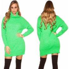 6c75b6df4ce2 Koucla pletené šaty s rolákem neonově zelená