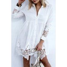 db6df468b19b Fashionweek košilové šaty s krajkou boho MD04 164 bílá