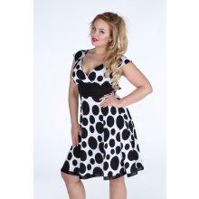 d9feee60abb9 Dámské šaty pro plnoštíhlé puntikatý vzor s volnou sukní černobílá