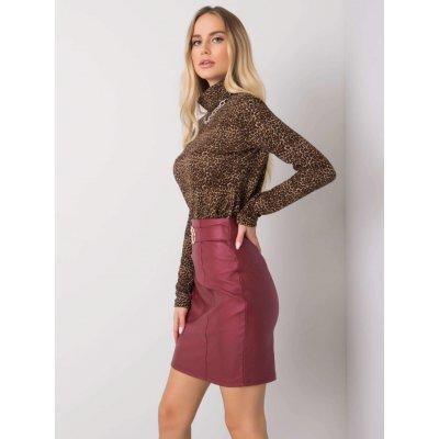 Koženková sukně dhj-sd-3029.06 bordo