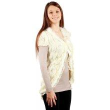 311b02b1ace2 Glara Dámská delší pletená vesta s krátkým rukávem (bílá