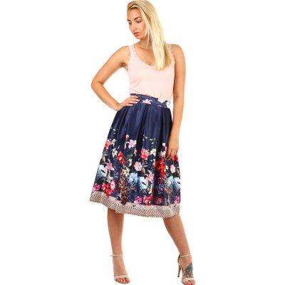 Glara skládaná půlkolová retro sukně s květinovým potiskem tmavě modrá 335543