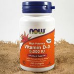 Now Vitamin D3 5000 IU x 240 softgel kapslí