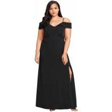 Dámské společenské šaty pro plnoštíhlé s odhalenými rameny černá e1affeb0d4