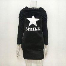 2v1 Dlouhá sexy mikina tunika minišaty s maxi rolákem Star Smile černá 1aa25d3f0e