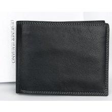 Designer Italiano Kožená peněženka z měkké černé pravé kůže