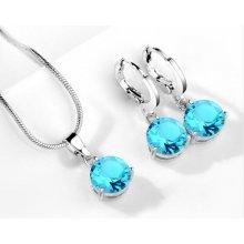 Set šperků náušnice a náhrdelník se zirkonem 50 Světle modrá 467b2bd9659