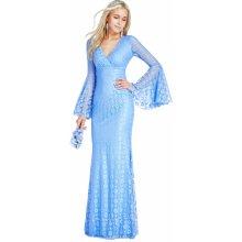 CityGoddess společenské dlouhé krajkové šaty modrá 3668ac0f69