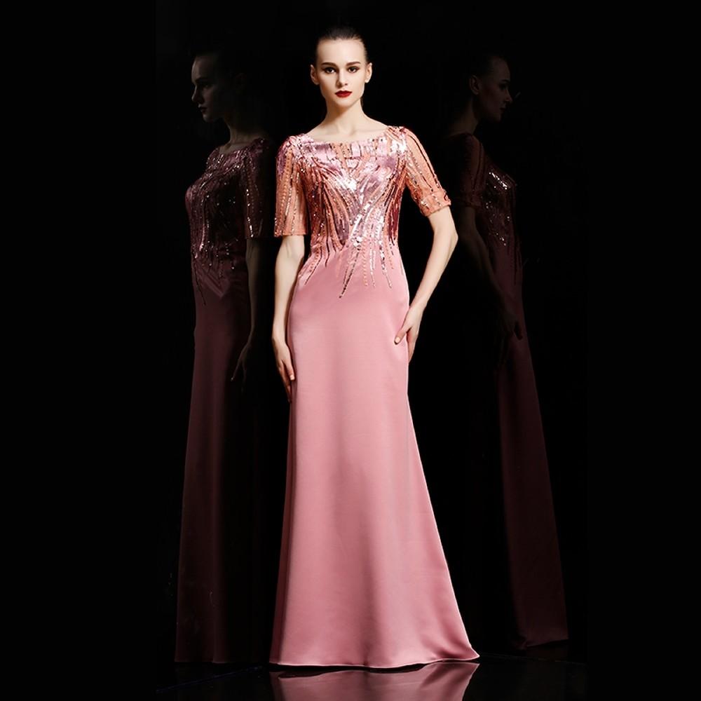 ae7ab9f61c6 Plesové šaty Dorisqueen luxusní saténové šaty s flitrovaným živůtkem ...