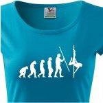 Dámské tričko s vtipným potiskem evoluce Pole dance Modrá ab7cfe60dd