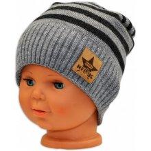 Baby Nellys Podzimní zimní proužkovaná čepice sv. šedo grafit d7d1ea467a