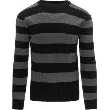 DSTREET Pánský pruhovaný černý svetr (wx0876)